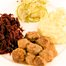 Thumbnail image for Winter Supper:  Swedish Meatballs, Rot Kraut, Creamy Mashed Potatoes, Fennel and Green Apple Salad with Juniper Berries, & Swedish Rice Pudding with Spiced Sour Cherry Compote