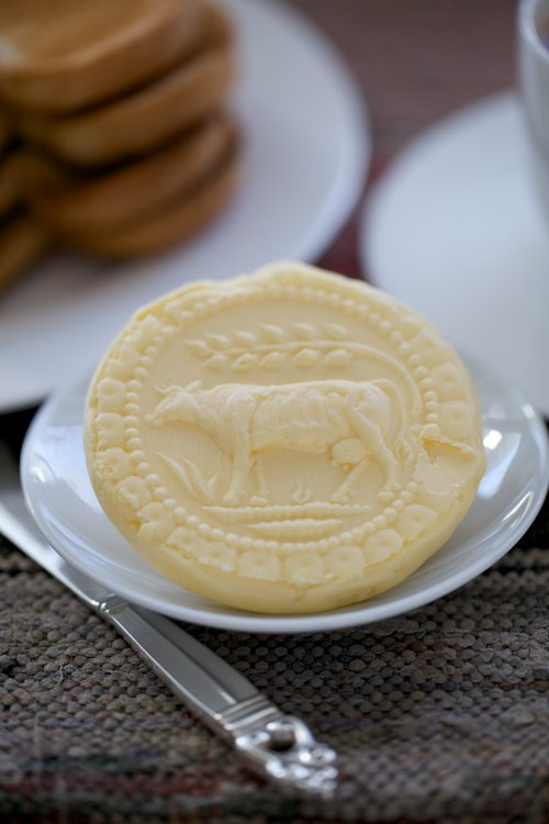 Homemade Cultured Butter Pressed with a Hand-carved Butter Mold-A ...