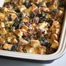 Thumbnail image for Savory Breakfast Bread Pudding with Fiddlehead Ferns, Sausage, Caramelized Leeks and Red Spring Onions, & Gruyere